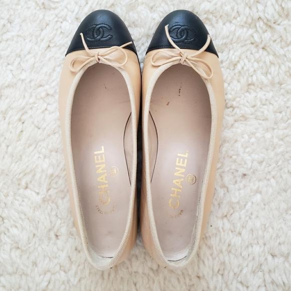 Chanel CC Cap-Toe Leather Ballet Flats